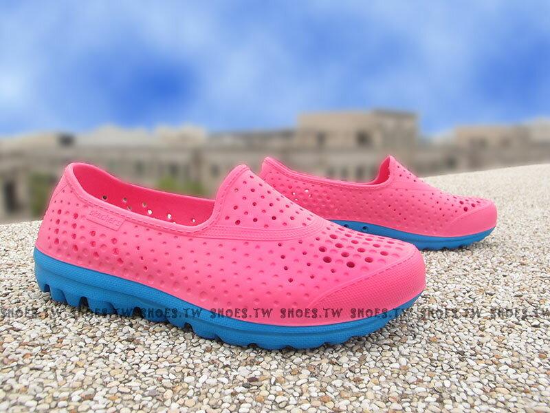 Shoestw【86622LHPBL】SKECHERS 中童鞋 海灘鞋 H2GO 超軟Q底 桃紅藍 呼吸