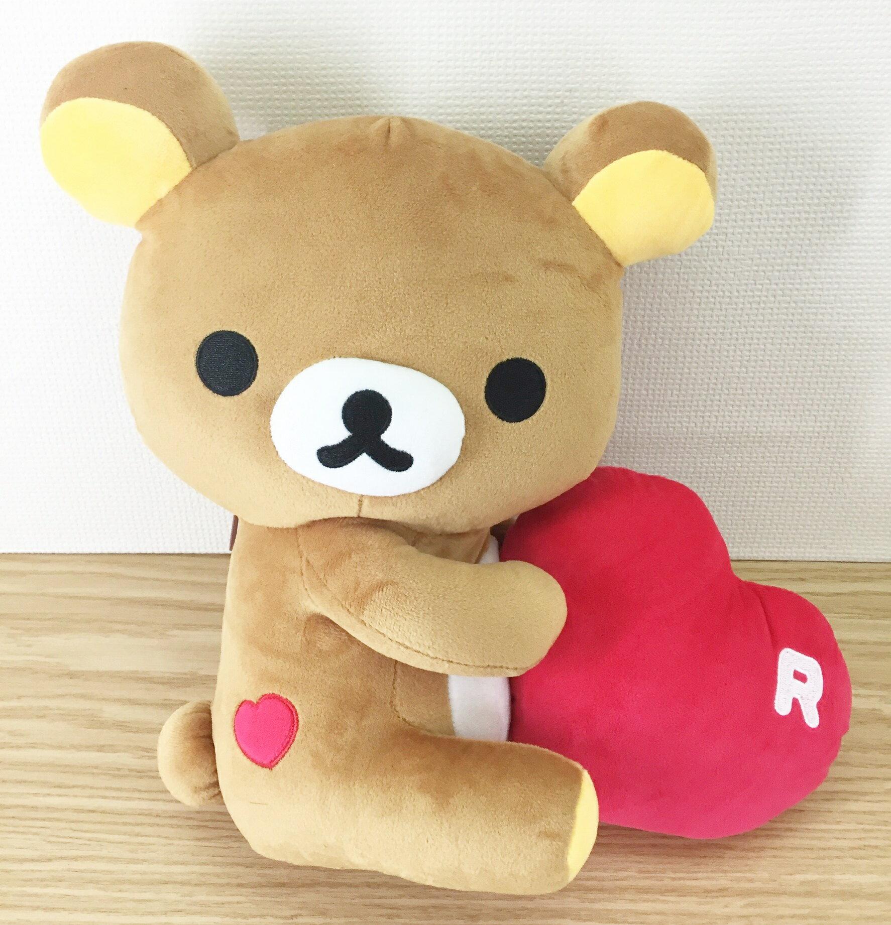 【真愛日本】1604010000430CM側坐抱紅心-懶熊  懶熊 拉拉熊 娃娃 絨毛 公仔 擺飾