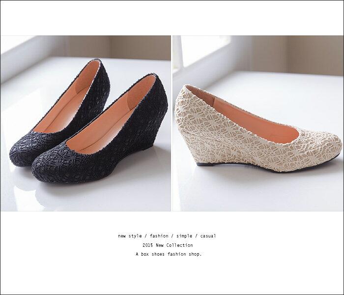 格子舖*【KTW245】MIT台灣製 韓版素面楔型舒適柔軟6CM包鞋 楔型鞋 4色現貨 2