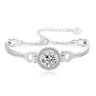 純銀手鍊 鍍白金鑲鑽手環 ~ 亮眼 生日情人節 女飾品73cv3~ ~~米蘭 ~
