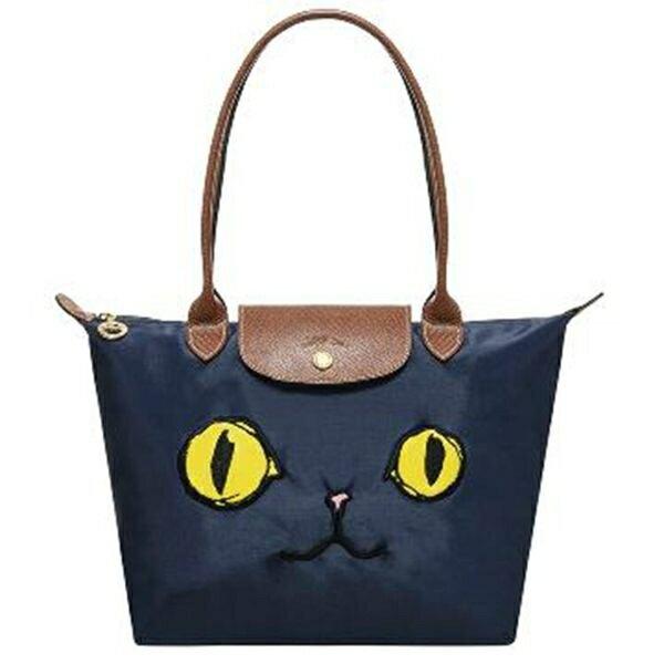 LONGCHAMP 2605貓咪款折疊水餃包(藍色)