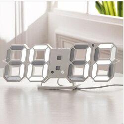 【宸豐光電】掛鐘。3D LED數位掛鐘。桌上或掛鐘,時鐘、鬧鐘功能,白色燈光、白色底座
