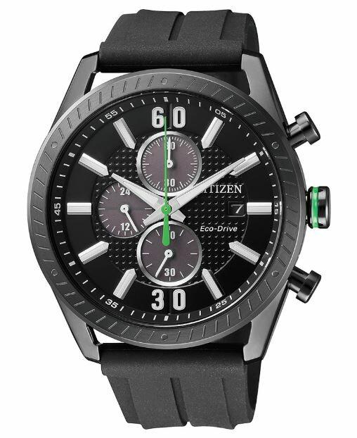 大高雄鐘錶城 CITIZEN星辰 CA0667-12E 耀眼時尚光動能三眼計時腕錶/ 黑+黑面 43mm