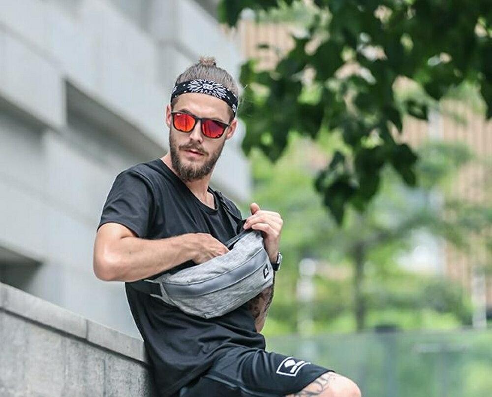 男士單肩包            跑步腰包男士戶外運動訓練胸包騎行挎包女休閒多功能單肩手機包  瑪麗蘇