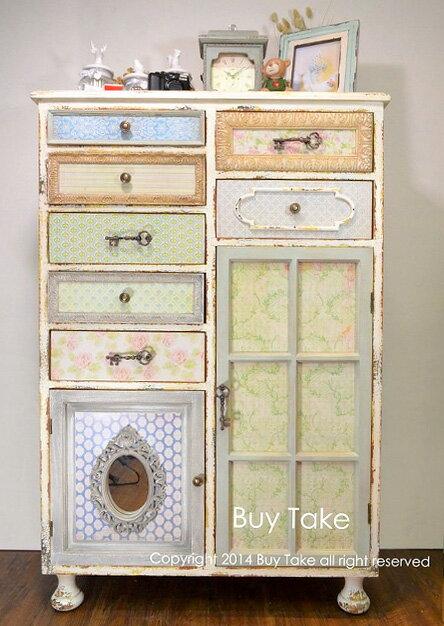維多利亞華麗風 復古老舊花花彩色多層抽屜組合櫃