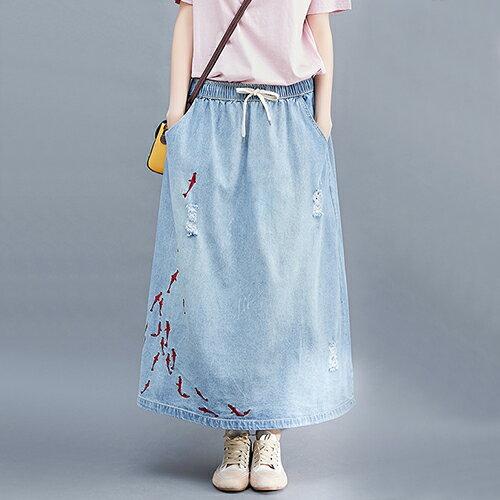 中長款刺繡牛仔長裙(淺藍M~XL)【OREAD】 - 限時優惠好康折扣