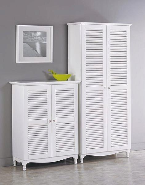 【尚品傢俱】821-288-3 地中海3尺白色百葉鞋櫃
