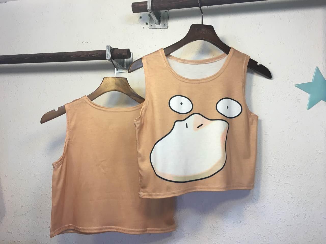 網路熱門話題款式 寶可夢 pokemon go 無袖圓領可達鴨印花性感短款神奇寶貝背心T恤