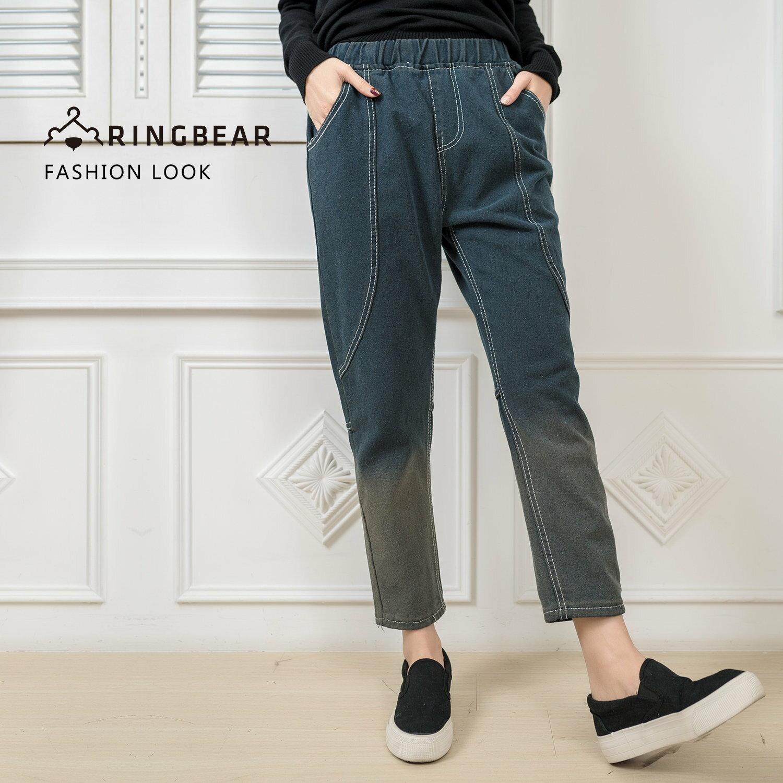 長褲--美式復古時尚刷色漸層2D效果顯瘦裝飾線鬆緊褲頭哈倫褲(灰M-5L)-N72眼圈熊中大尺碼 0