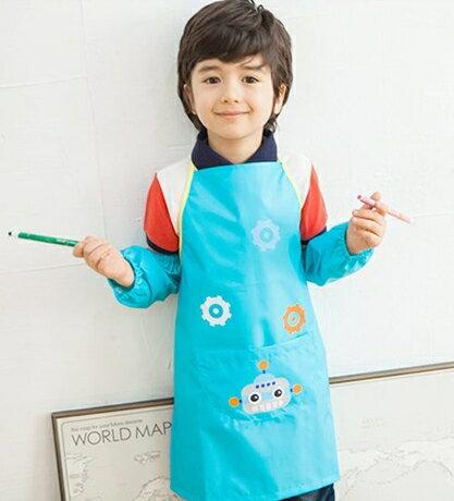 Kocotree◆可愛機器人卡通 防水耐髒環保圍裙式綁帶罩衣畫畫衣~湖藍