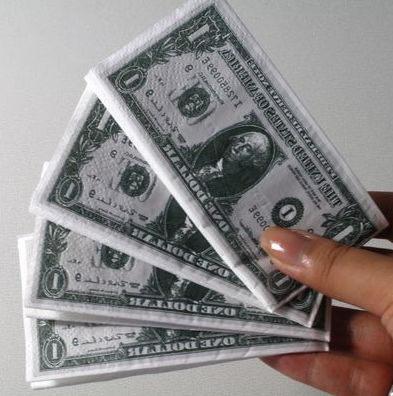 【F13070103】創意歐元美元紙巾 美金印花 彩色面巾 紙餐巾紙