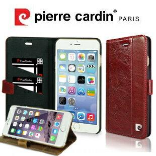 [ iPhone6/6S Plus ] Pierre Cardin法國皮爾卡登5.5吋側翻式卡袋舌扣款手機套/保護套/皮套 可收納卡片 紅色