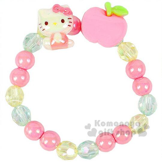 〔小禮堂〕Hello Kitty 兒童造型串珠手環《粉.坐姿.蘋果》
