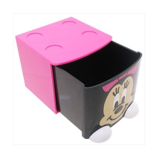 17102700009 積木抽屜收納盒-MN粉 迪士尼 米老鼠米奇 收納盒 日用品 塑膠製 真愛日本