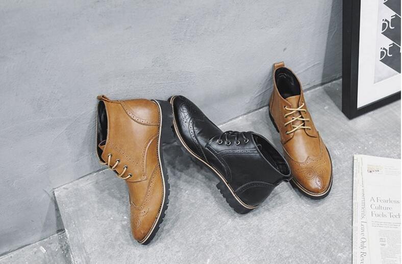 FINDSENSE品牌 新品 潮流 簡約男士 高幫 布洛克 皮鞋 休閒鞋