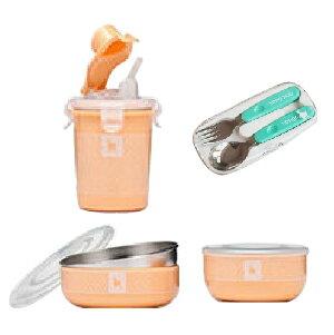 美國【Kangovou】 小袋鼠不鏽鋼安全兒童餐具簡配組(奶油橘)+不鏽鋼湯叉組 - 限時優惠好康折扣