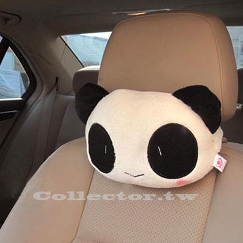 【T14101401】可愛卡通熊貓毛絨車用頭枕 靠枕 腰靠墊 抱枕車用枕