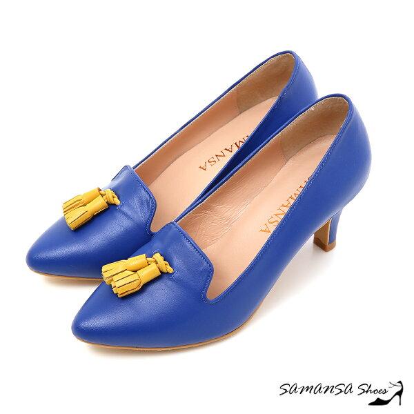 samansa莎曼莎手工鞋:[SAMANSA]摩登搶眼焦點撞色流蘇美腿中跟--#14502水漾藍