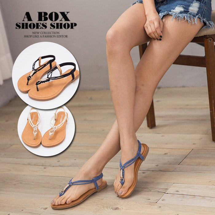 ~KTA38~簡約磨砂皮革 金屬水鑽蝴蝶結 繞帶彈性舒適軟墊 平底套指夾腳涼鞋 3色