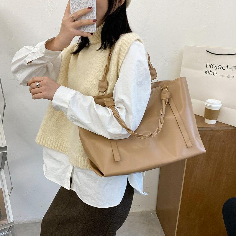 韓版休閒包包女2020新款潮時尚簡約大容量托特包純色ins單肩大包