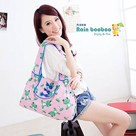 ●Rain booboo●蝴蝶包- 包包雨衣 名牌收納包 防水包 媽媽包 【粉紅青蛙款】