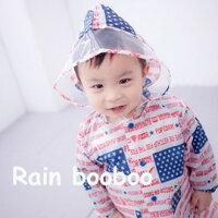下雨天推薦雨靴/雨傘/雨衣推薦◎Rain booboo◎美國星旗兒童雨衣/兒童風雨衣【C1023-1】
