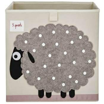 【淘氣寶寶】加拿大 3 Sprouts 收納箱-綿羊【超大容量 收納箱,可摺疊,100%棉帆布手感柔軟耐抗污】【 貨● 】