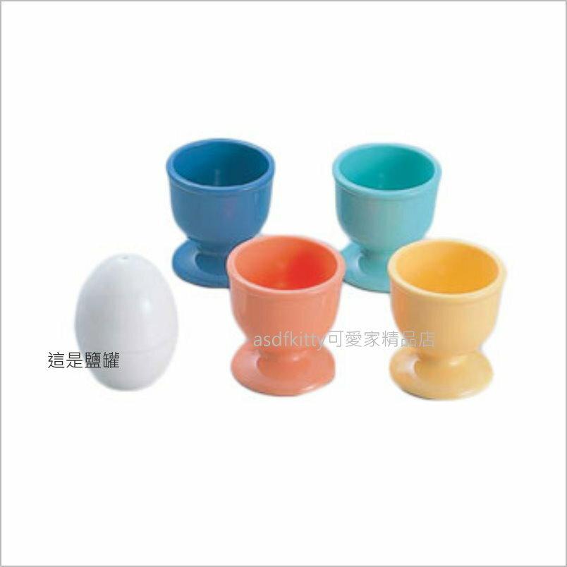 asdfkitty可愛家☆日本CAKELAND 4入彩色蛋架/蛋杯附鹽罐-也可放茶漏.或當小物置物架-日本製