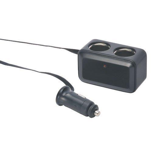 權世界@汽車用品 日本CARMATE 2孔點煙器延長線電源插座擴充器(扁線) NZ258