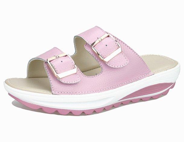 Pyf ♥ 真皮軟底 皮帶扣休閒厚底涼拖鞋 沙灘鞋 42 大尺碼女鞋