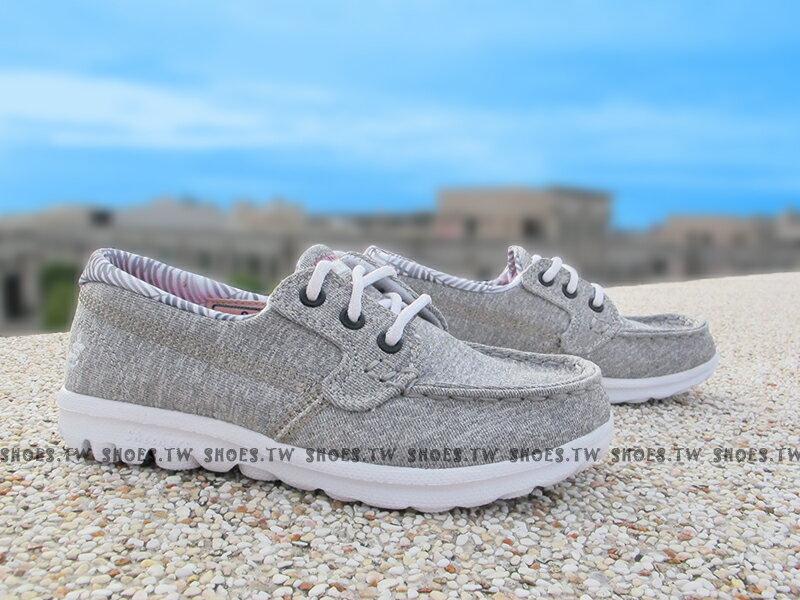 Shoestw【81079LGYMT】SKECHERS 中童鞋 GoWalk 記憶泡棉鞋墊 帆船鞋 灰 女生可穿