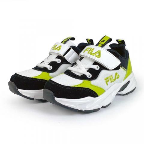 【FILA】兒童經典慢跑鞋(220/ 白黑綠)2-J430V-166