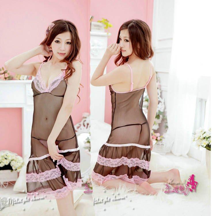 新款上市黑色透明網紗情趣細肩帶性感睡衣長裙 1015