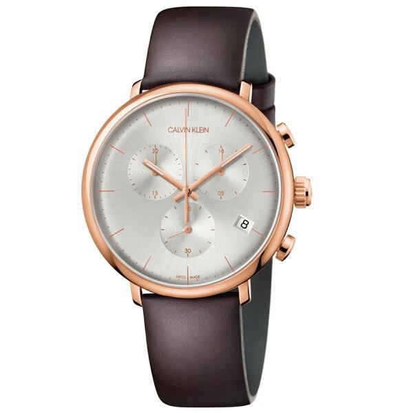 CK卡文克萊時代印記(K8M276G6)都會計時時尚腕錶白面43mm