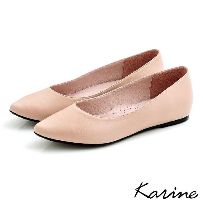 karine(MIT台灣製)全真皮尖頭內增高楔型鞋-粉漾