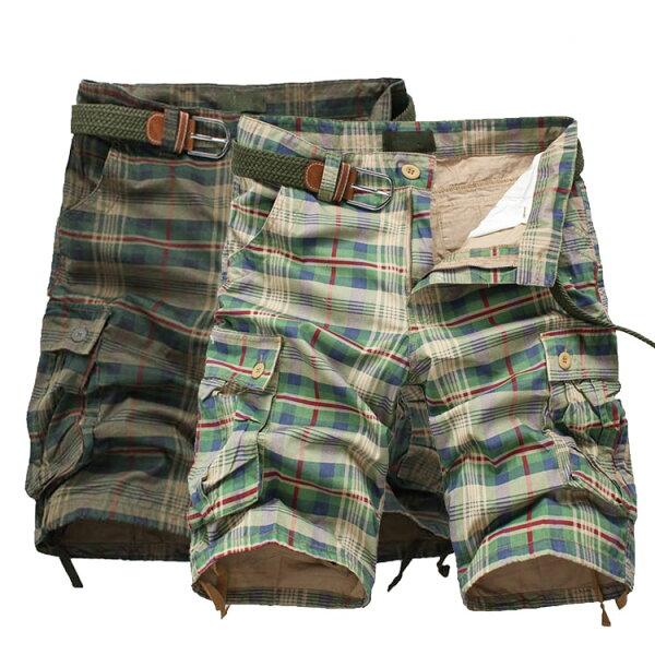 【$399專區任搭2件$699】經典潮流格紋口袋造型百搭休閒短褲