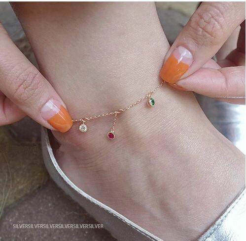 Tokyo Alice 925純銀繽紛寶石腳練,純銀飾品腳鏈美腳飾品首飾銀飾甜美(sf0000006)