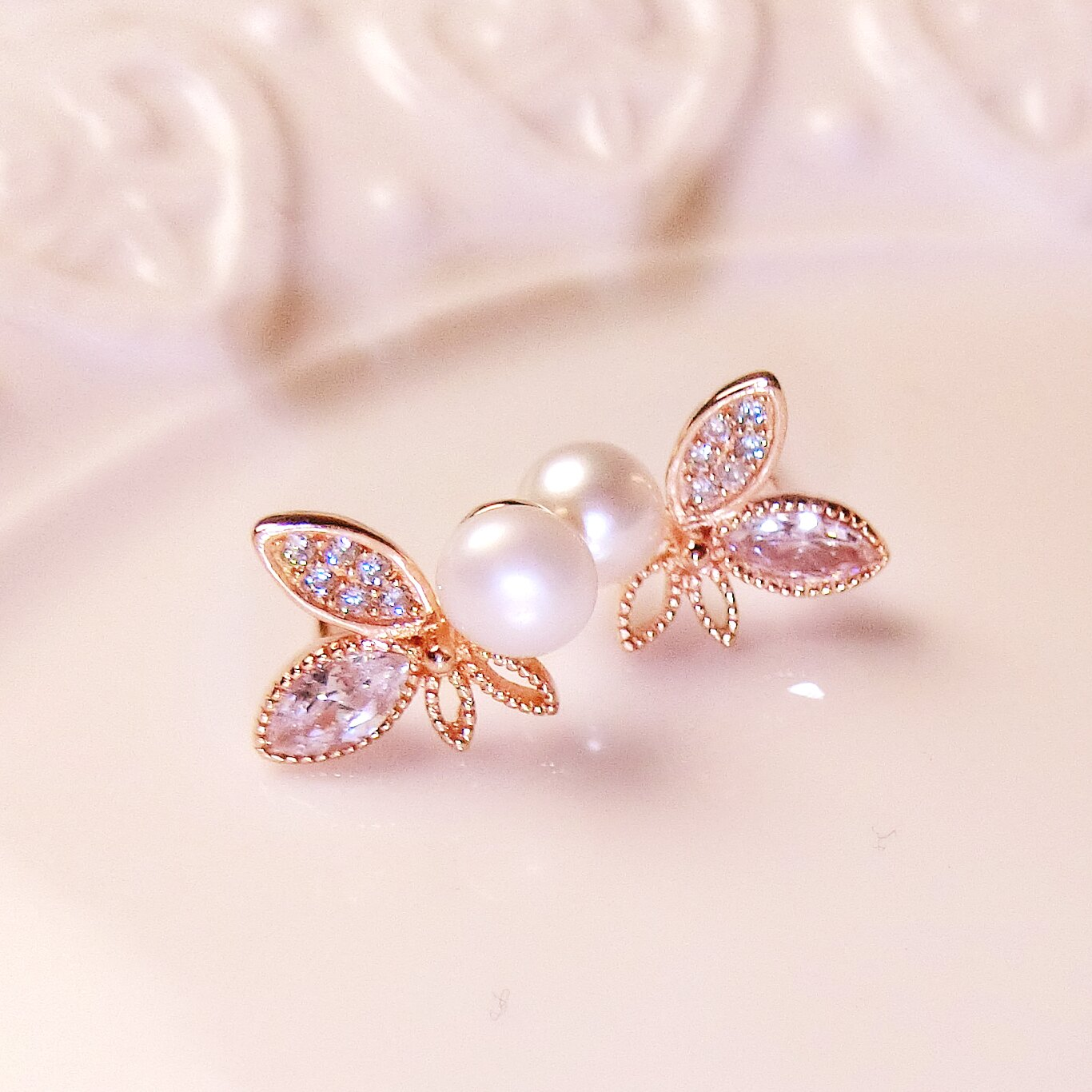 Tokyo Alice 925純銀珍珠葉子耳環^(玫瑰金色^),貝珠純銀飾品首飾耳飾貼耳針
