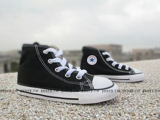 Shoestw【7J231C】CONVERSE 童鞋 帆布鞋 高筒 黑色 小童鞋 ALL STAR