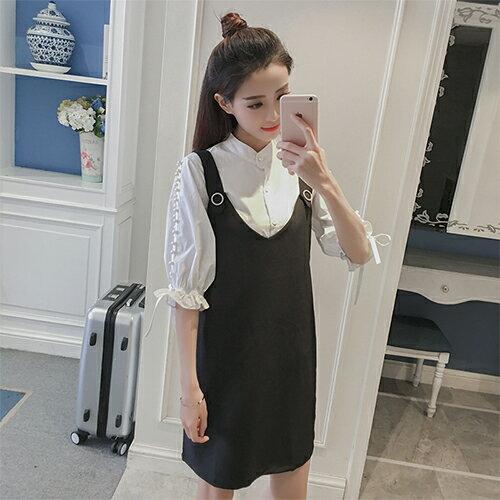 女裝 新款新品 氣質顯瘦背帶兩件套裝連衣裙 【6818-88】(黑色)(S ~ 2XL)*86精品女人國*