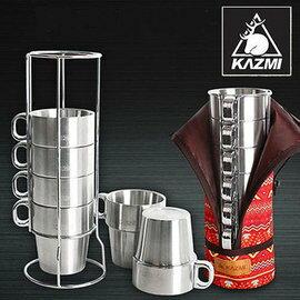 【鄉野情戶外專業】 KAZMI 不鏽鋼雙層馬克杯6入(紅色) 300ml/保溫杯/K4T3K004