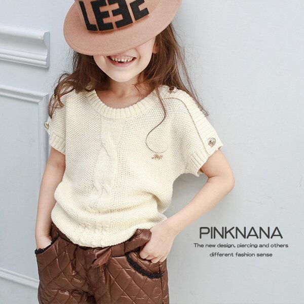 Pink Nana:PINKNANA童裝-女童鈕扣造型針織短袖上衣毛衣32125親子裝