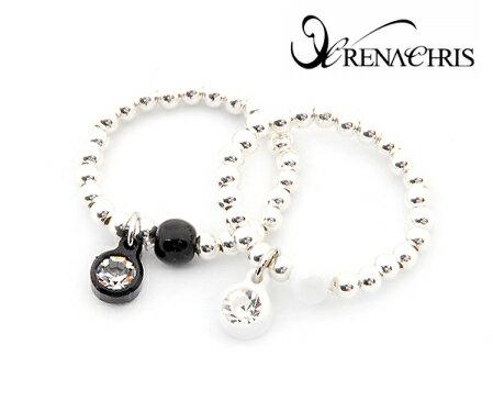 BHI1088-法國品牌RenaChris 施華洛世奇晶鑽個性純銀圓珠戒指【韓國製】