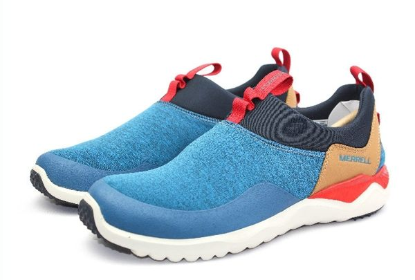 MERRELL 都會休閒款 避震氣墊 舒適耐走 直套式 免綁鞋帶 藍/卡其 男款 3