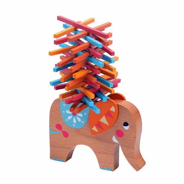 【888便利購】木製大象平衡木(訓練手眼協調)(40PCS)