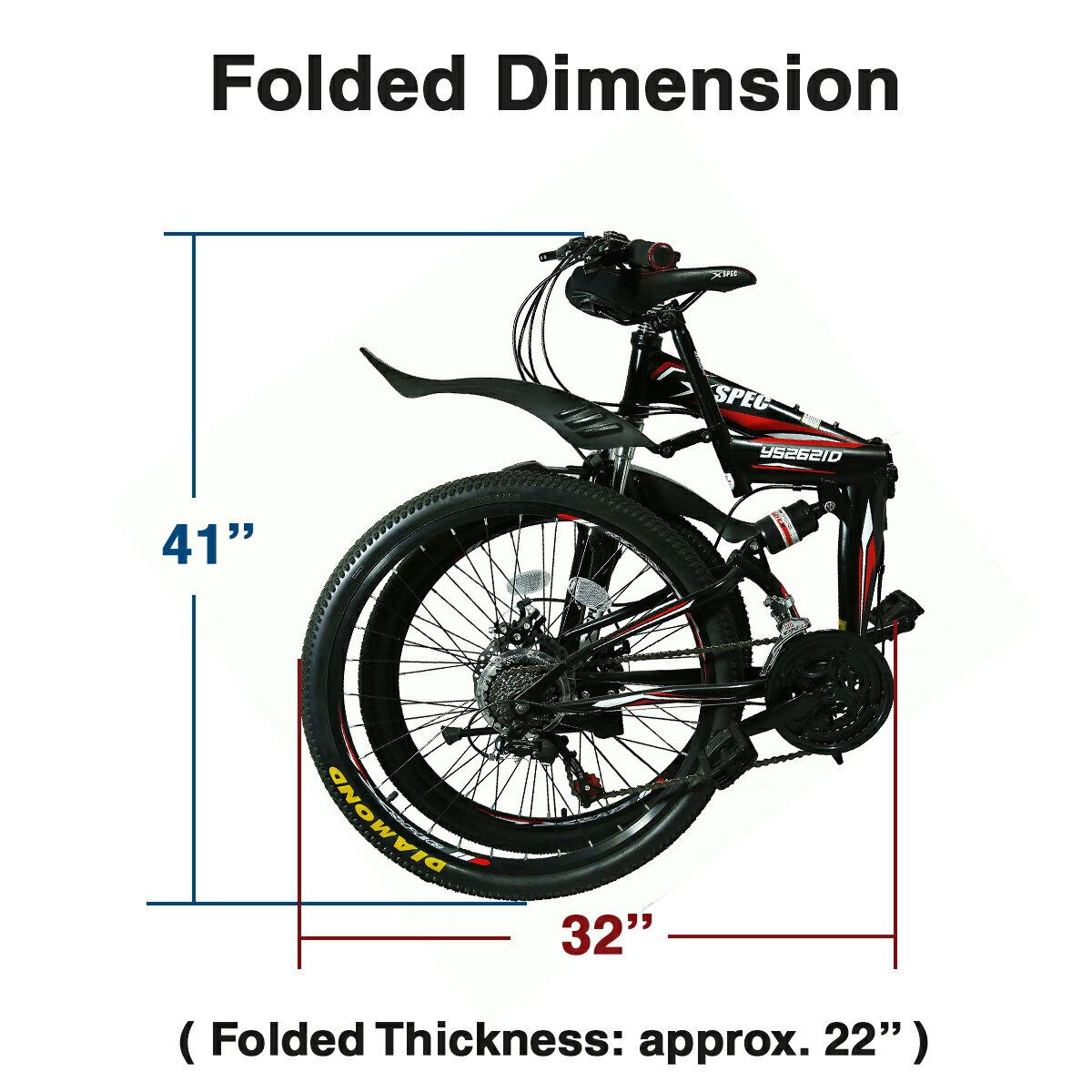 "Xspec 26"" 21 Speed Folding Mountain Bike Bicycle Trail Commuter Shimano Black 3"