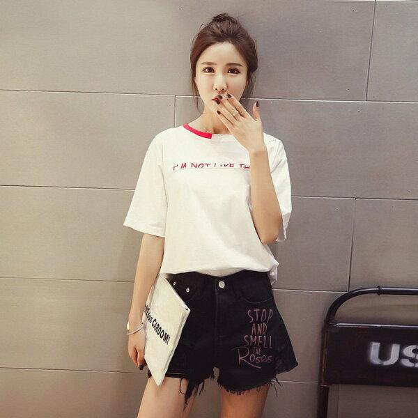 FINDSENSEG5韓國時尚夏季拼色圓領貼佈字母短袖破洞T恤上衣