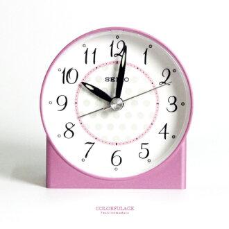 鬧鐘 粉色甜蜜 精工SEIKO普普風粉白圓形造型鬧鐘 夜光.滑動式秒針 柒彩年代【NV1697】原廠公司貨