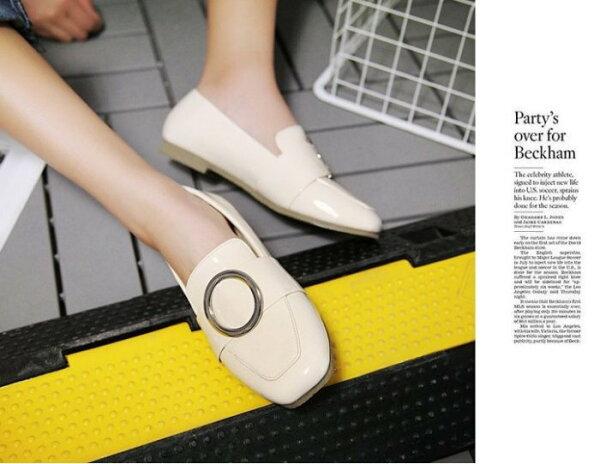 Pyf♥歐美方頭圓扣漆皮懶人鞋樂福休閒鞋平底鞋43大尺碼女鞋