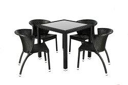 兄弟牌80cm鋁製膠藤方桌1張+凡賽斯鋁合金膠藤椅4張~腳管加厚編織包覆性佳!BROTHER歐式風情